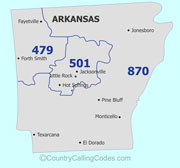 Arkansas area code map