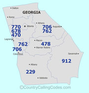 Georgia area code map