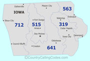 Iowa area code map