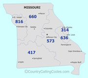Missouri area code map