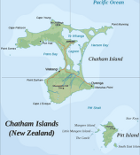 Country map of Chatham Island, Nz