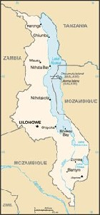 Country map of Malawi