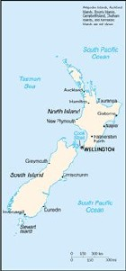 Country map of New Zealand