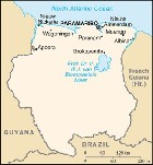 Country map of Suriname