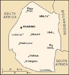 Country map of Swaziland