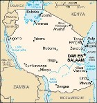 Country map of Tanzania