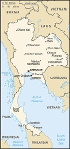 Country map of Thailand