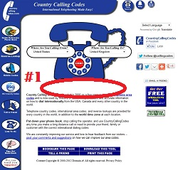 Country Calling Codes Index Page Advertising